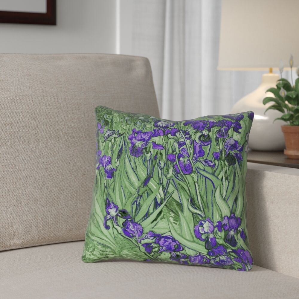 Morley Irises Throw Pillow Size: 18