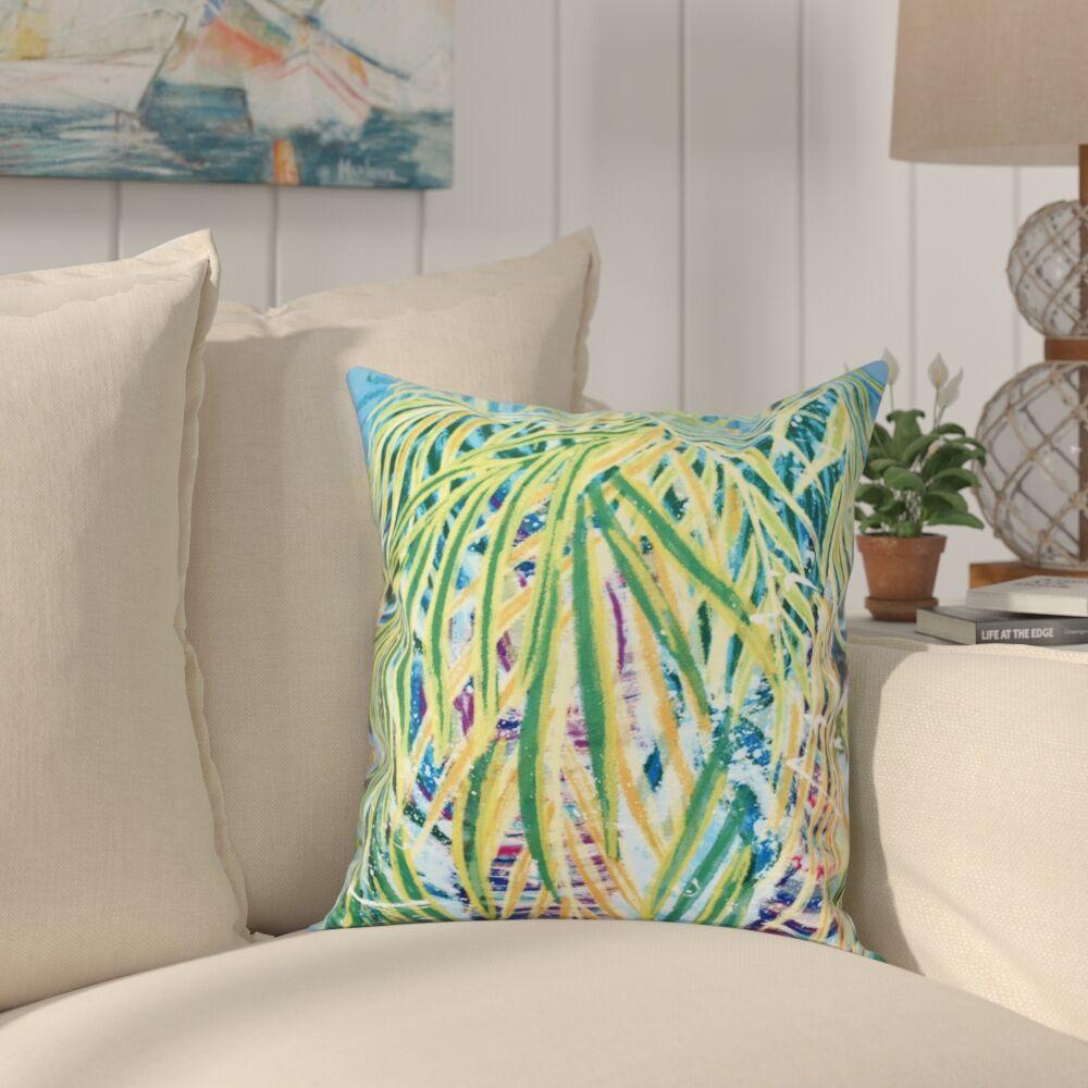 Granata Malibu Floral Print Throw Pillow Color: Aqua, Size: 18