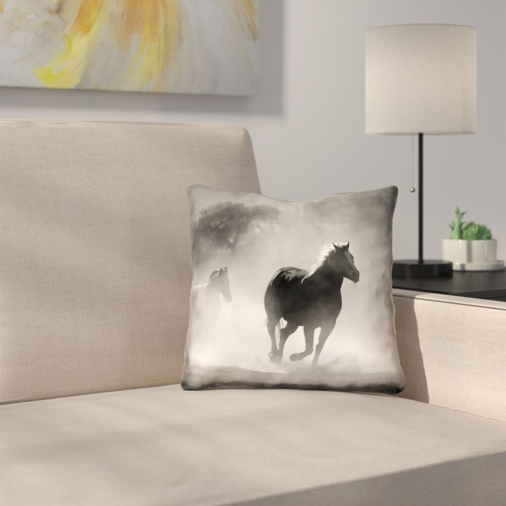 Aminata Galloping Horses Double Sided Linen Print Pillow Cover Size: 14