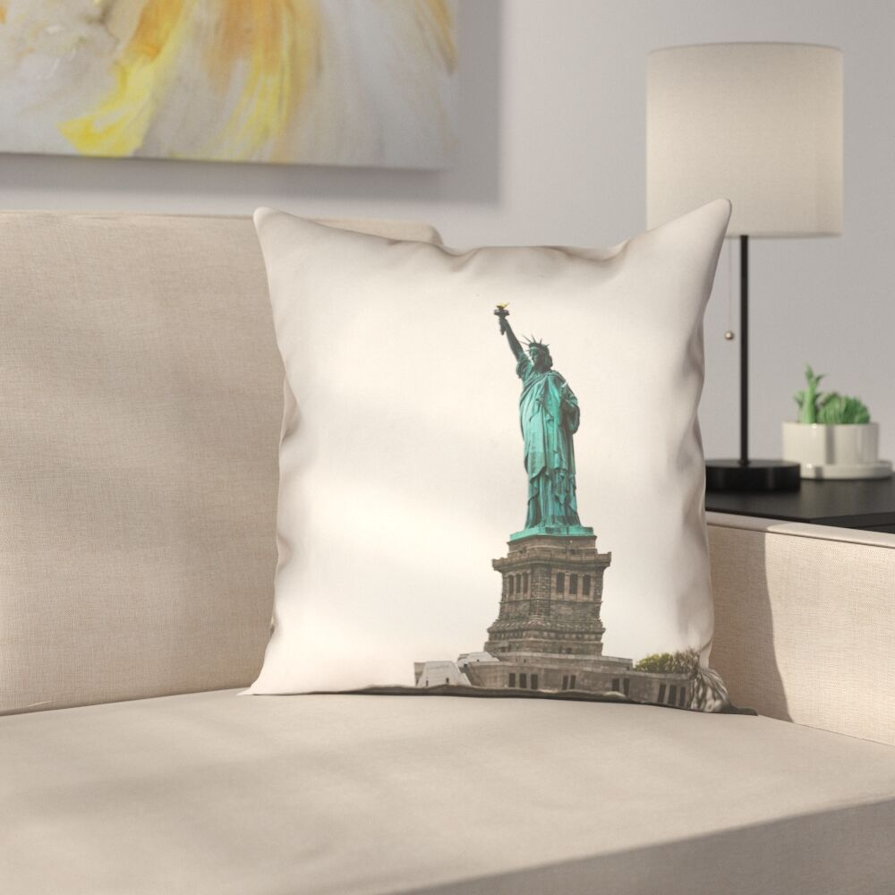 Statue of Liberty Double Sided Print Square 100% Cotton Pillow Cover Size: 18