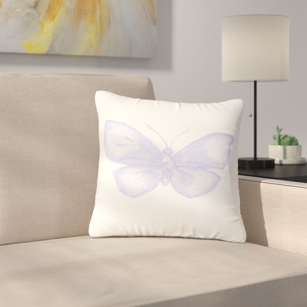 Jennifer Rizzo Lavender Butterfly Outdoor Throw Pillow Size: 18