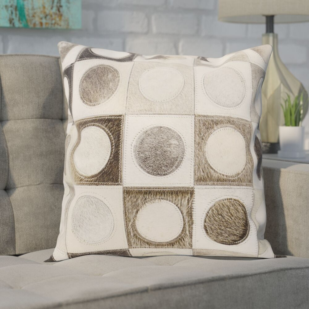 Naral Leather Hide Throw Pillow Color: Silver