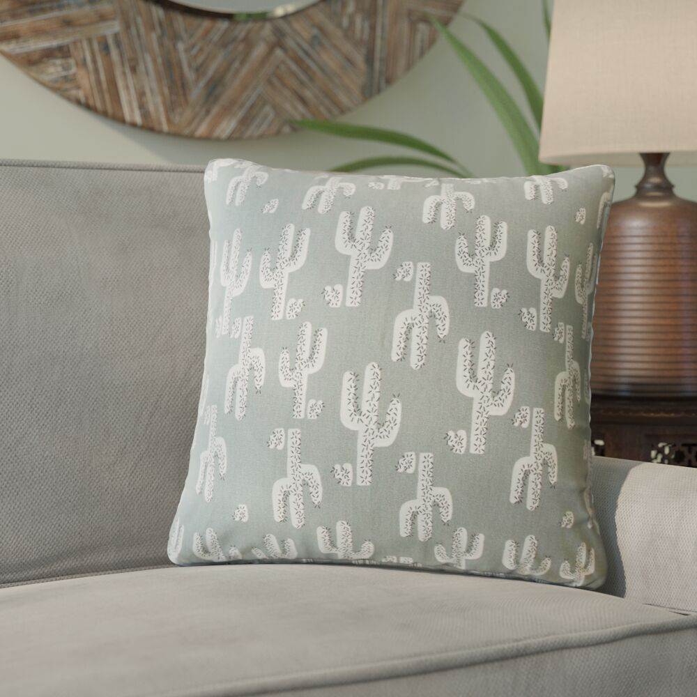 Fairhope Graphic Cotton Throw Pillow Color: Gray