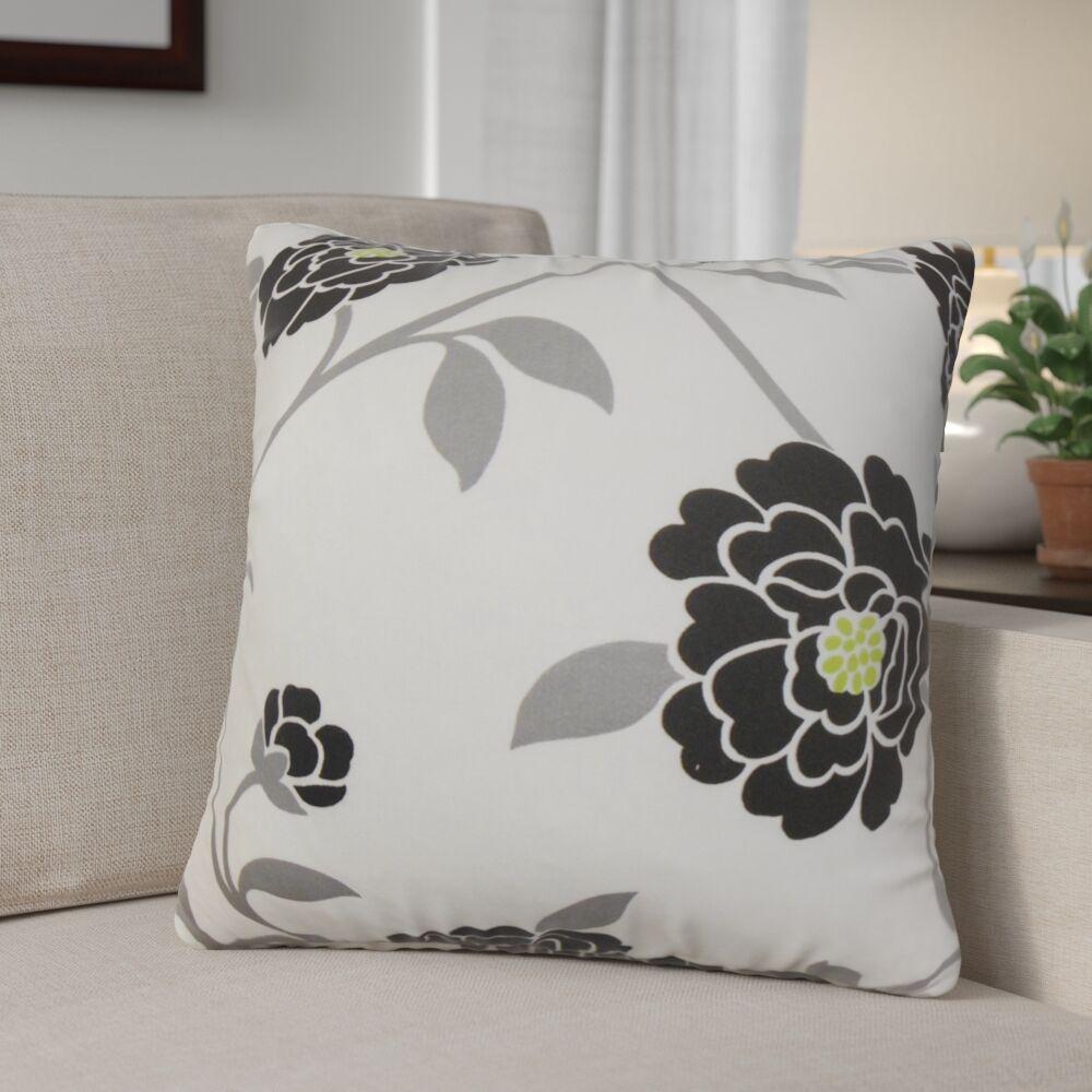 Ashton Ridge Floral Cotton Throw Pillow Color: Noir, Size: 22