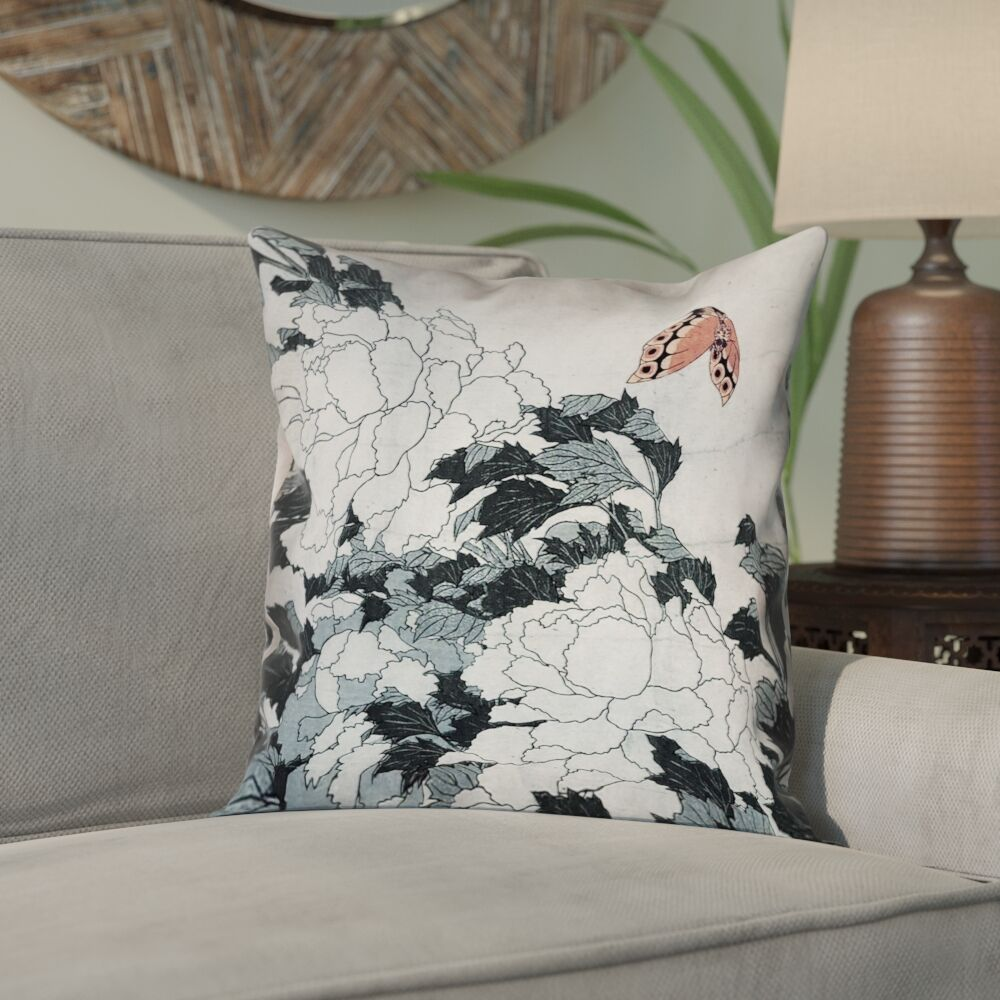 Clair Peonies with Butterfly Throw Pillow Size: 20