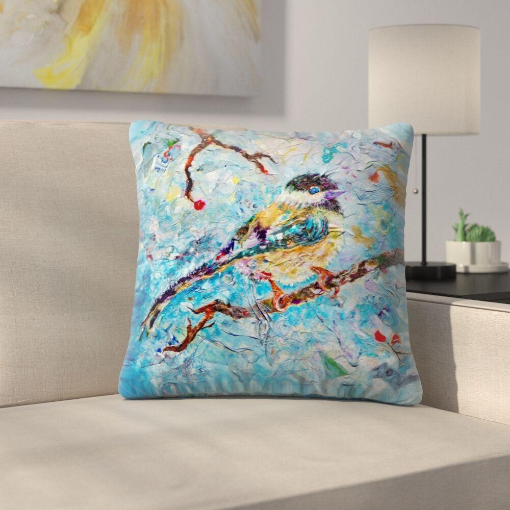 Sunshine Taylor Chickadee Indoor/Outdoor Throw Pillow Size: 18