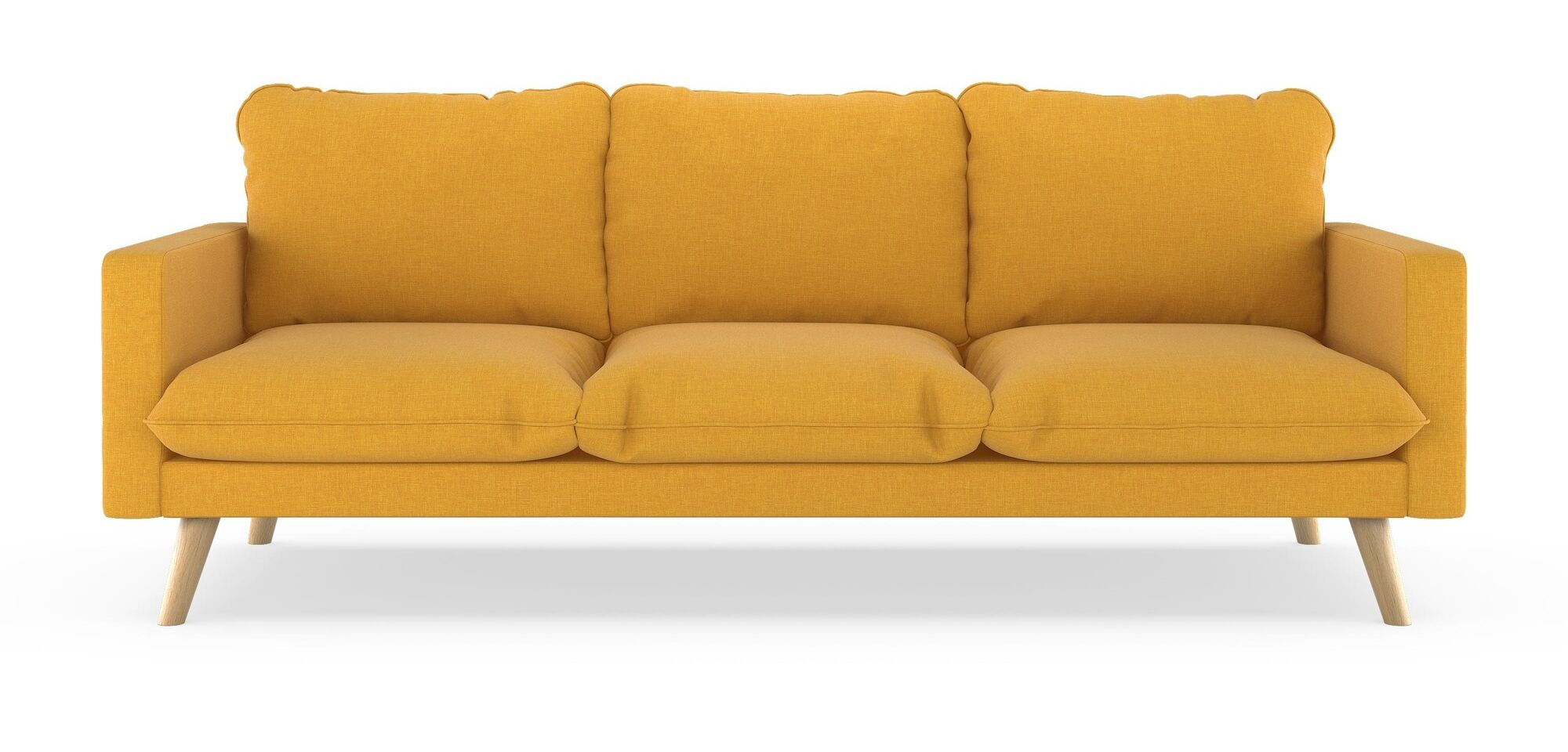 Cowans Cross Weave Sofa Upholstery: Sunflower, Finish: Walnut