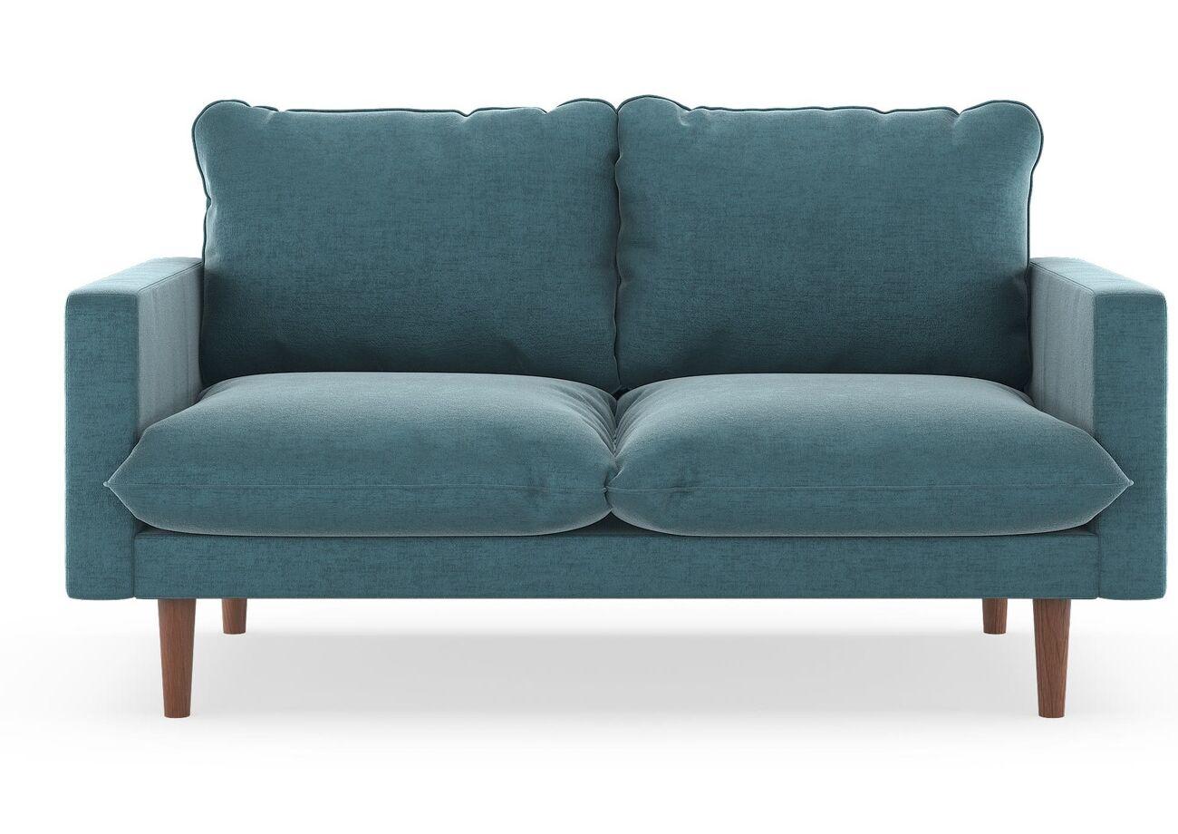 Robles Mod Velvet Loveseat Finish: Natural, Upholstery: Steel Blue