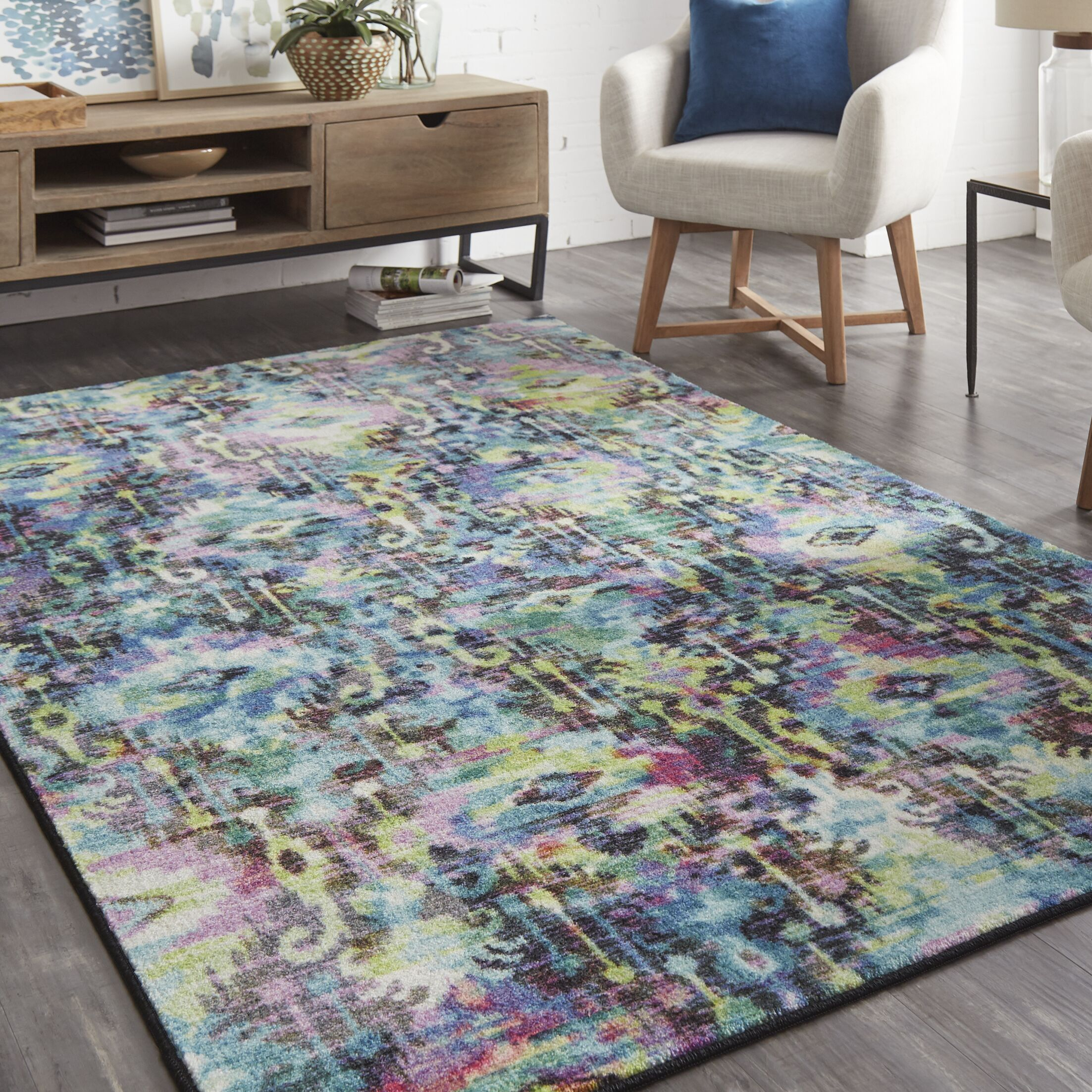 Locher Blue/Green Area Rug Rug Size: Rectangle 5' x 8'