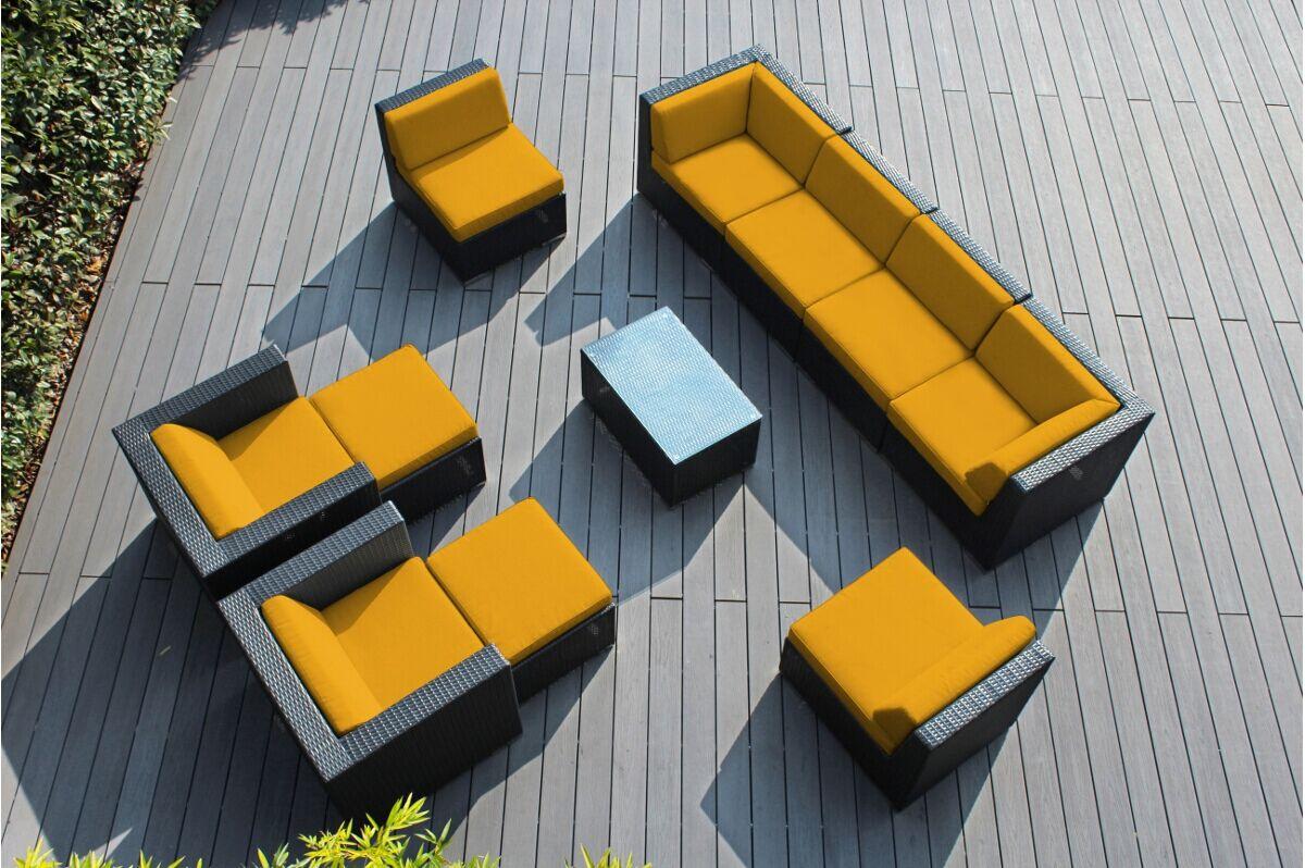 Baril 11 Piece Rattan Sunbrella Sofa Set with Cushions Cushion Color: Sunbrella Sunflower Yellow