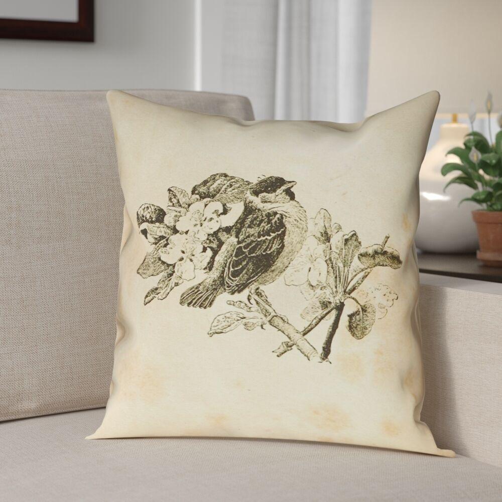 Venezia Vintage Bird Double Sided Throw Pillow Size: 18