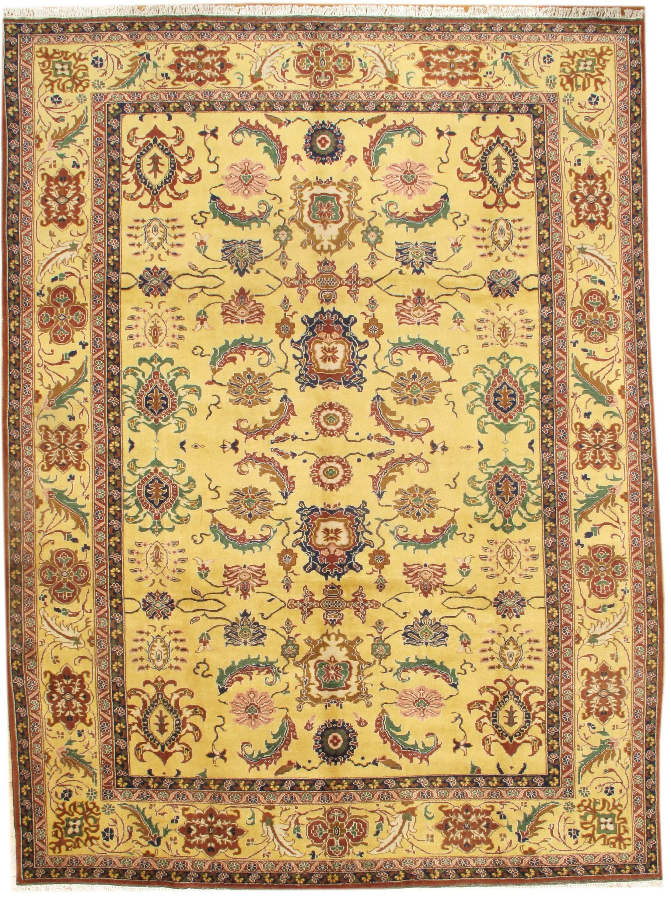 Genuine Sultanabad Design Hand-Knotted Wool Yellow Area Rug