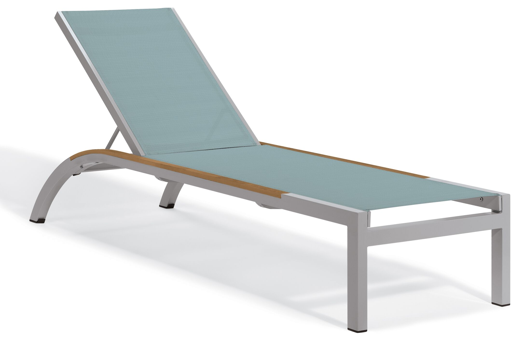Saleem Armless Reclining Chaise Lounge Color: Slate, Frame Color: Tekwood Natural