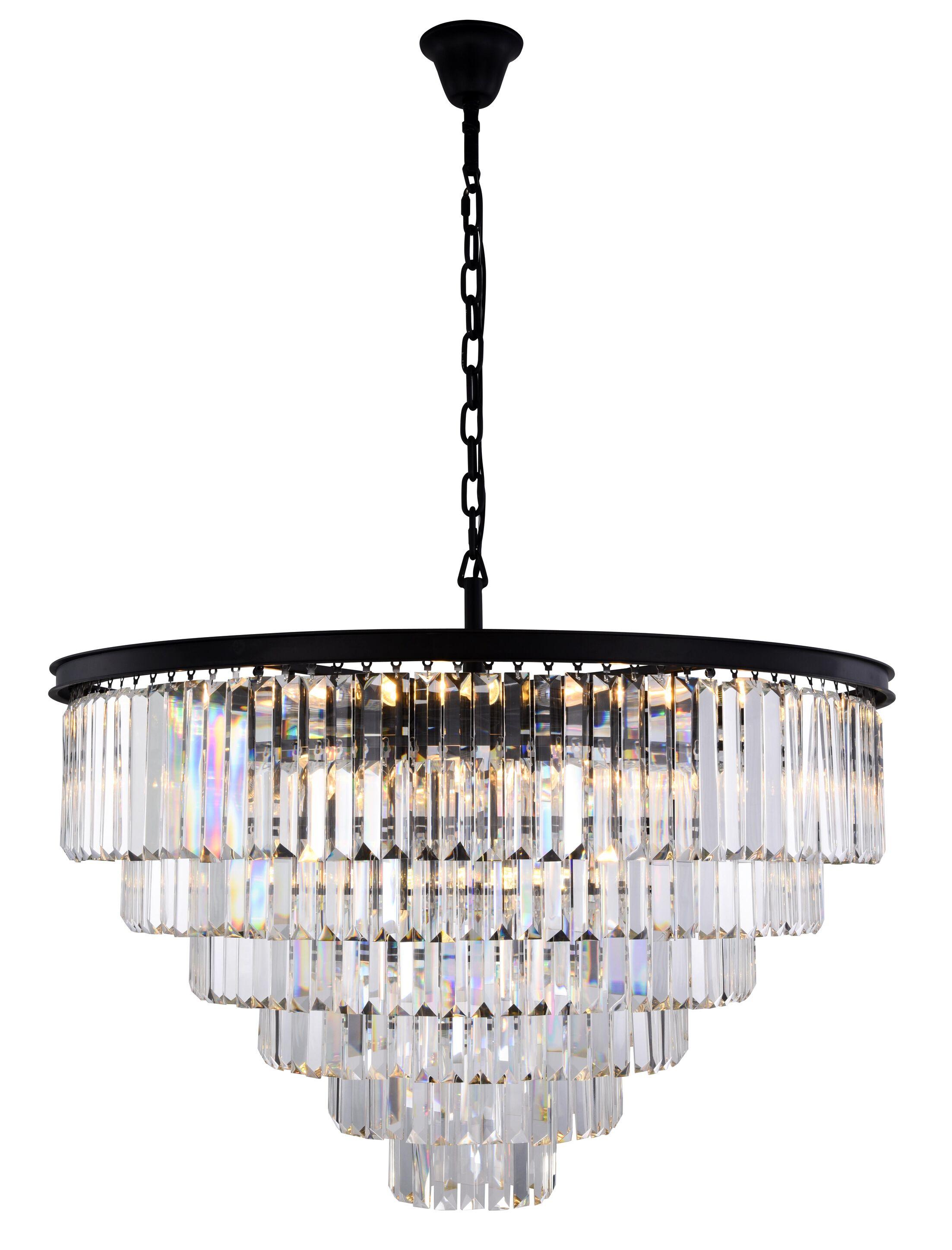 Lavinia 33-Light Chandelier Crystal Color: Clear, Finish: Matte Black