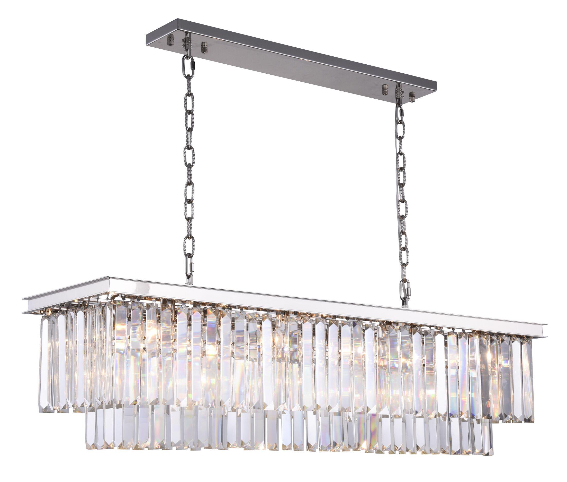 Lavinia 12-Light Kitchen Island Pendant Crystal Color: Clear, Finish: Polished Nickel
