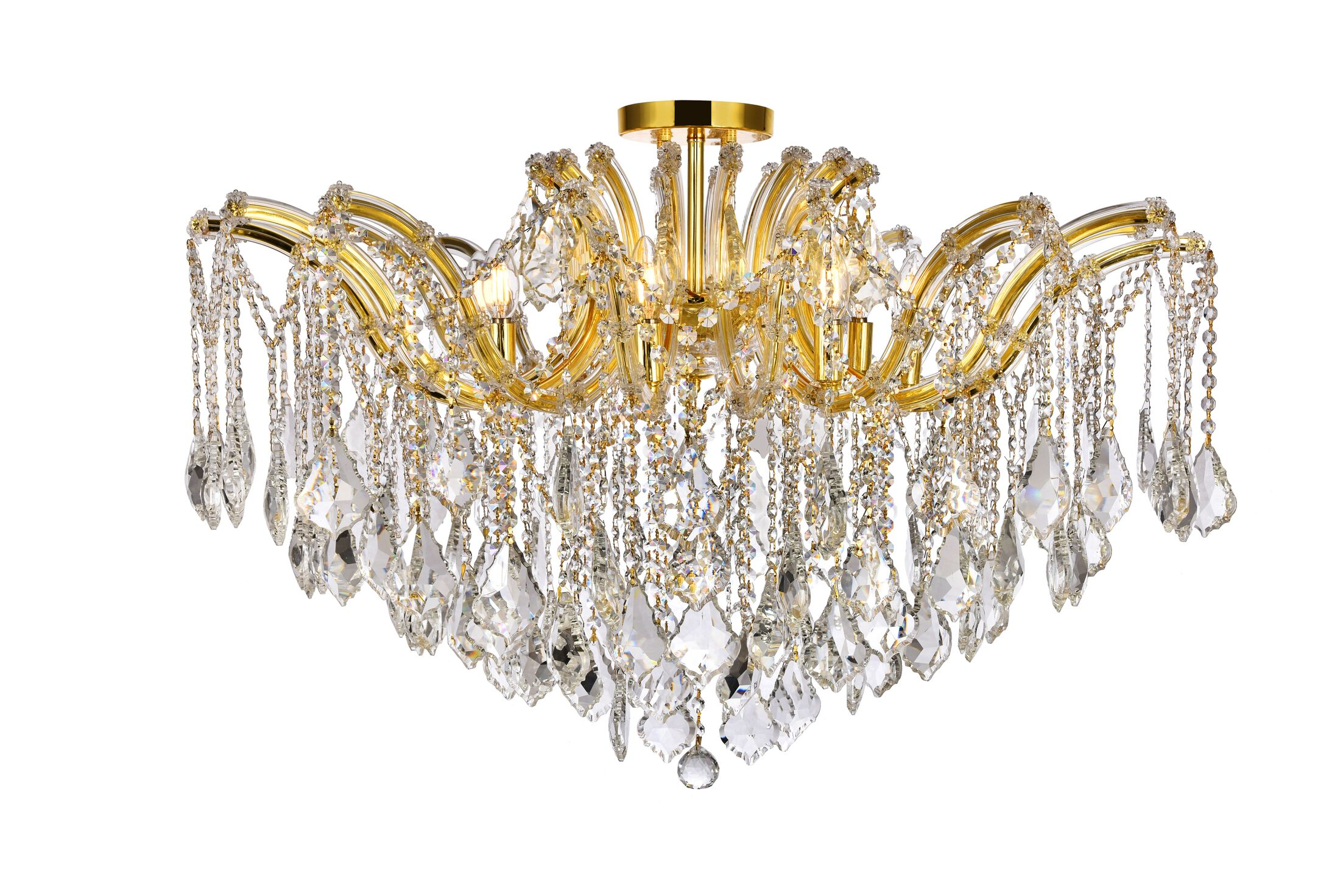 Regina 8-Light Semi Flush Mount Fixture Finish: Gold, Crystal Type: Royal Cut