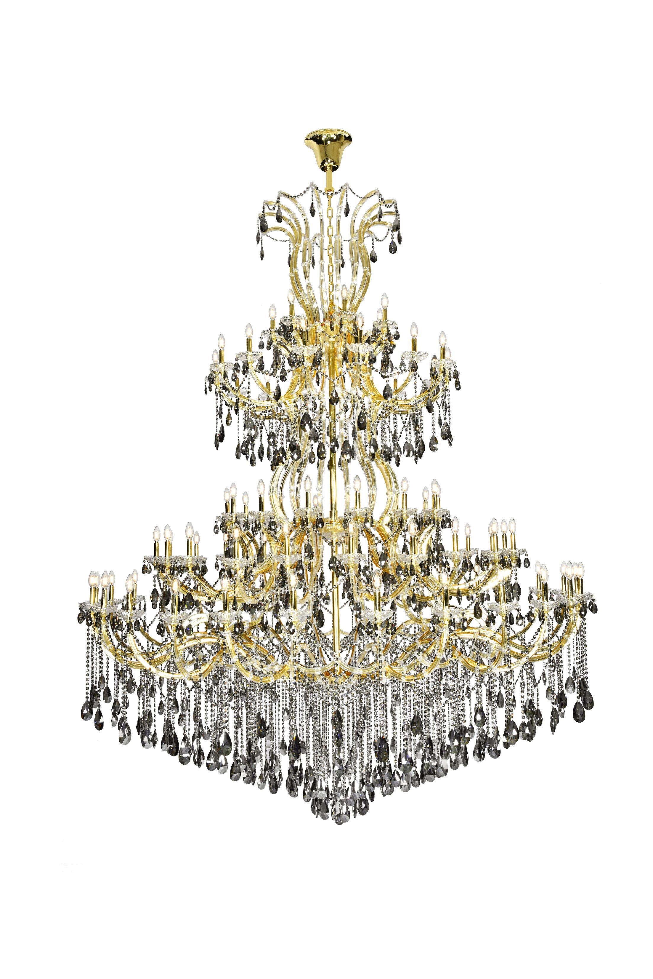 Regina 84-Light Chandelier Finish: Gold, Crystal Color: Gray, Crystal Type: Royal Cut