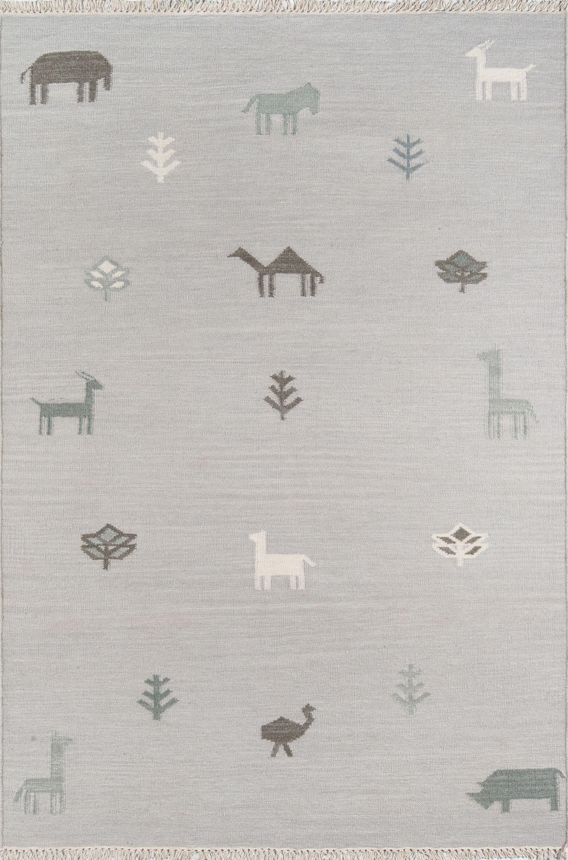 Thompson Porter Hand-Woven Wool Grey Area Rug Rug Size: Rectangle 5' X 7'6