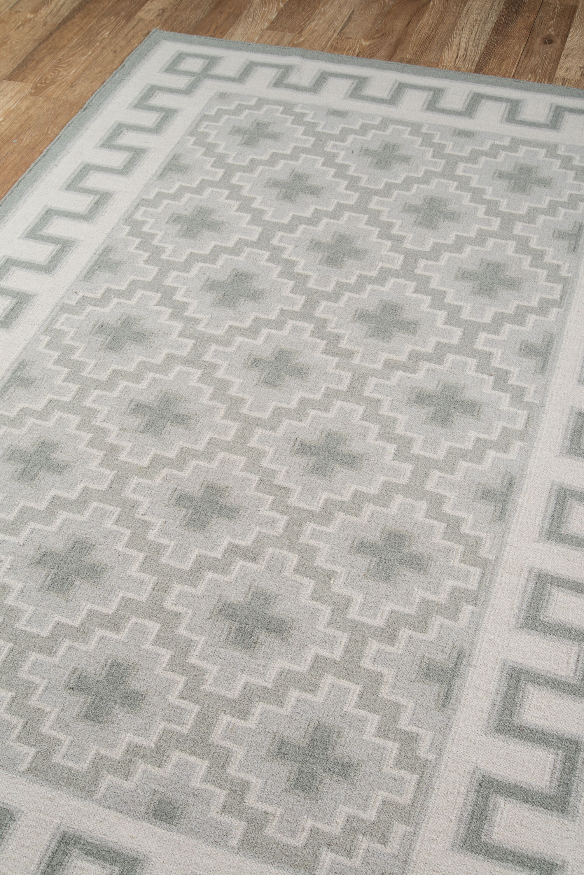 Thompson Brookline Hand-Woven Wool Grey Area Rug Rug Size: Rectangle 3'6