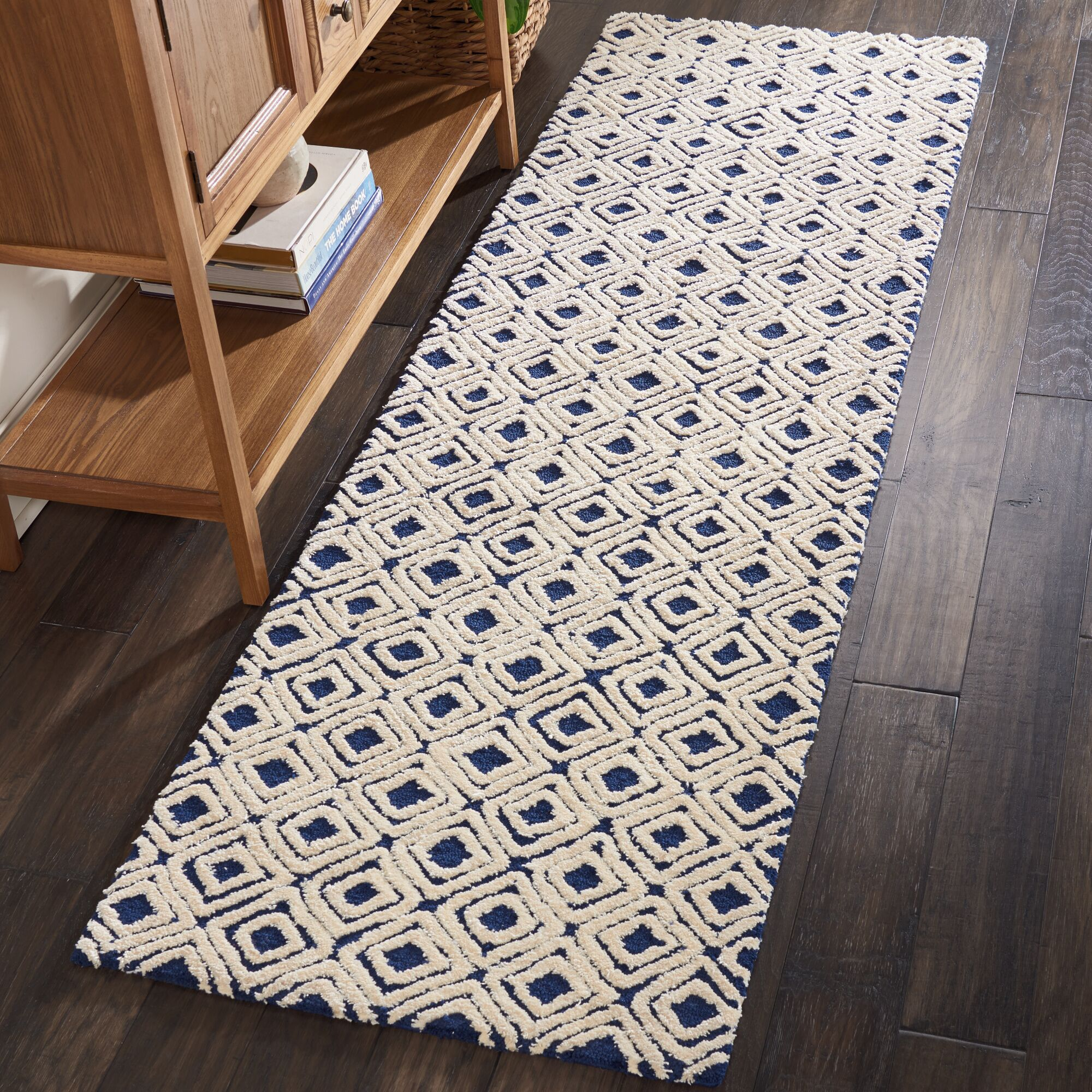 Chism Deco Hand-Tufted Navy/Ivory Area Rug Rug Size: Rectangle 9'6