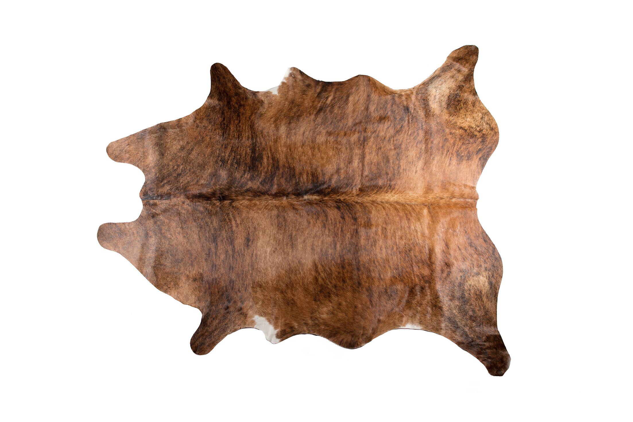 Dreer Hand-Woven Cowhide Brown Area Rug