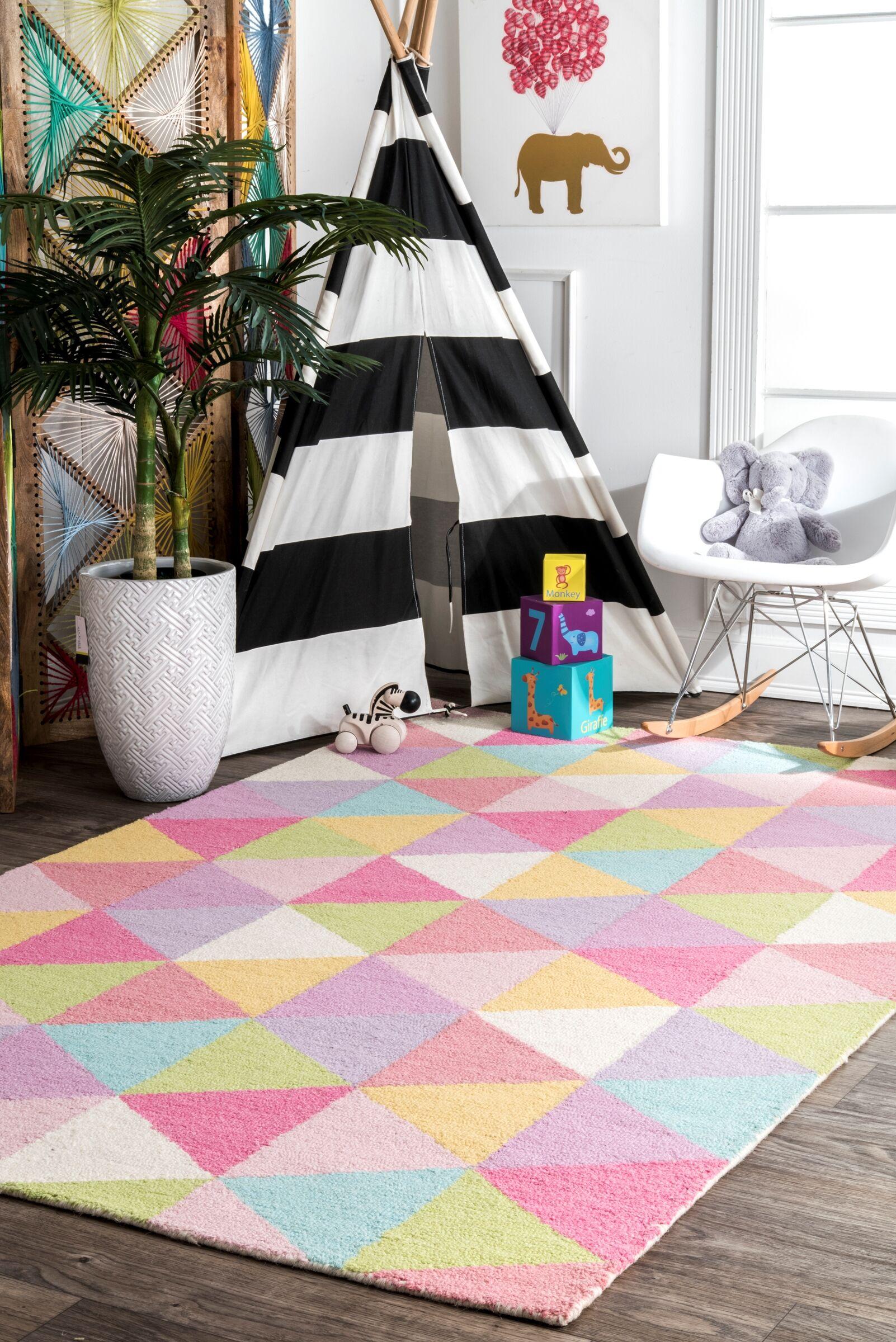 Doughton Hand-Hooked Wool Pink/Yellow Area Rug Rug Size: Rectangle 5' x 8'