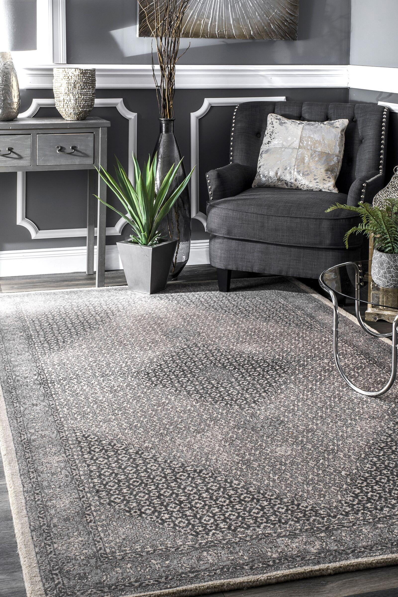 Perlman Hand-Woven Wool Gray Area Rug Rug Size: Rectangle 7'6