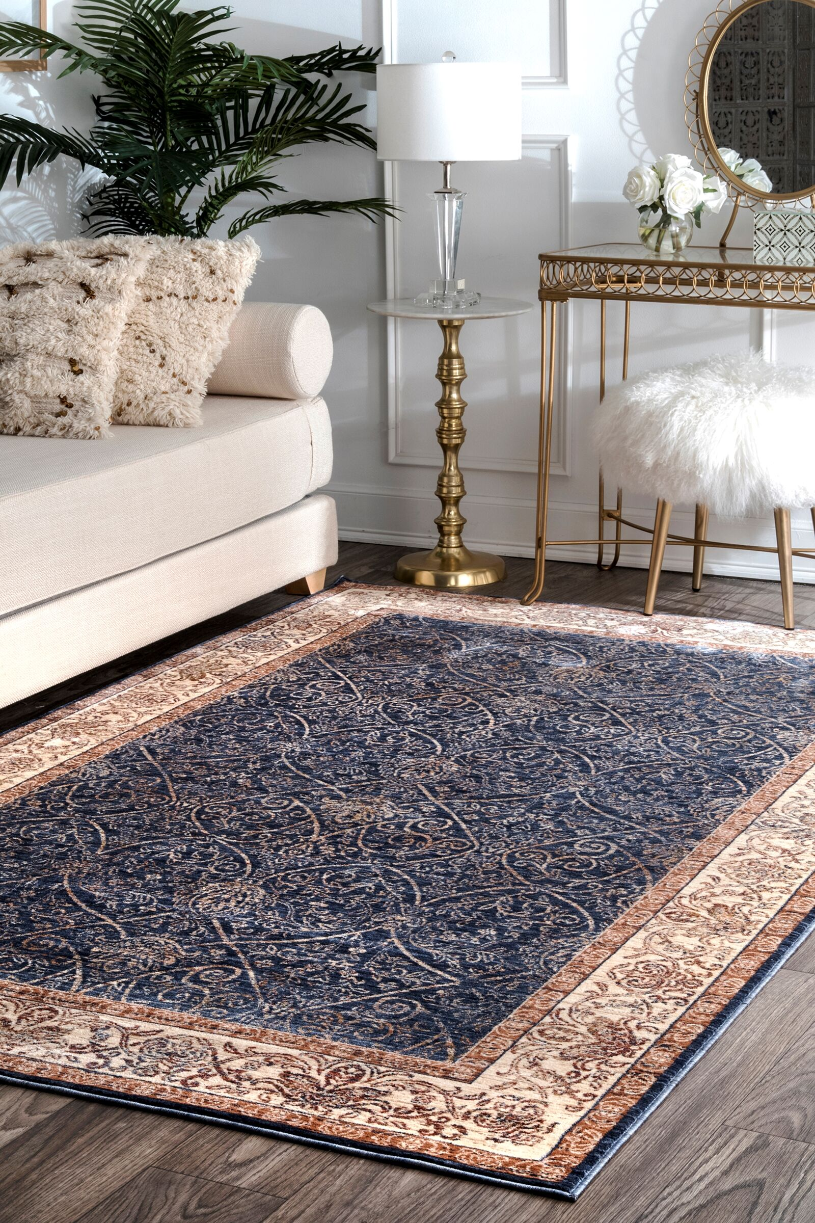 Huffman Navy Area Rug Rug Size: Rectangle 5' x 8'