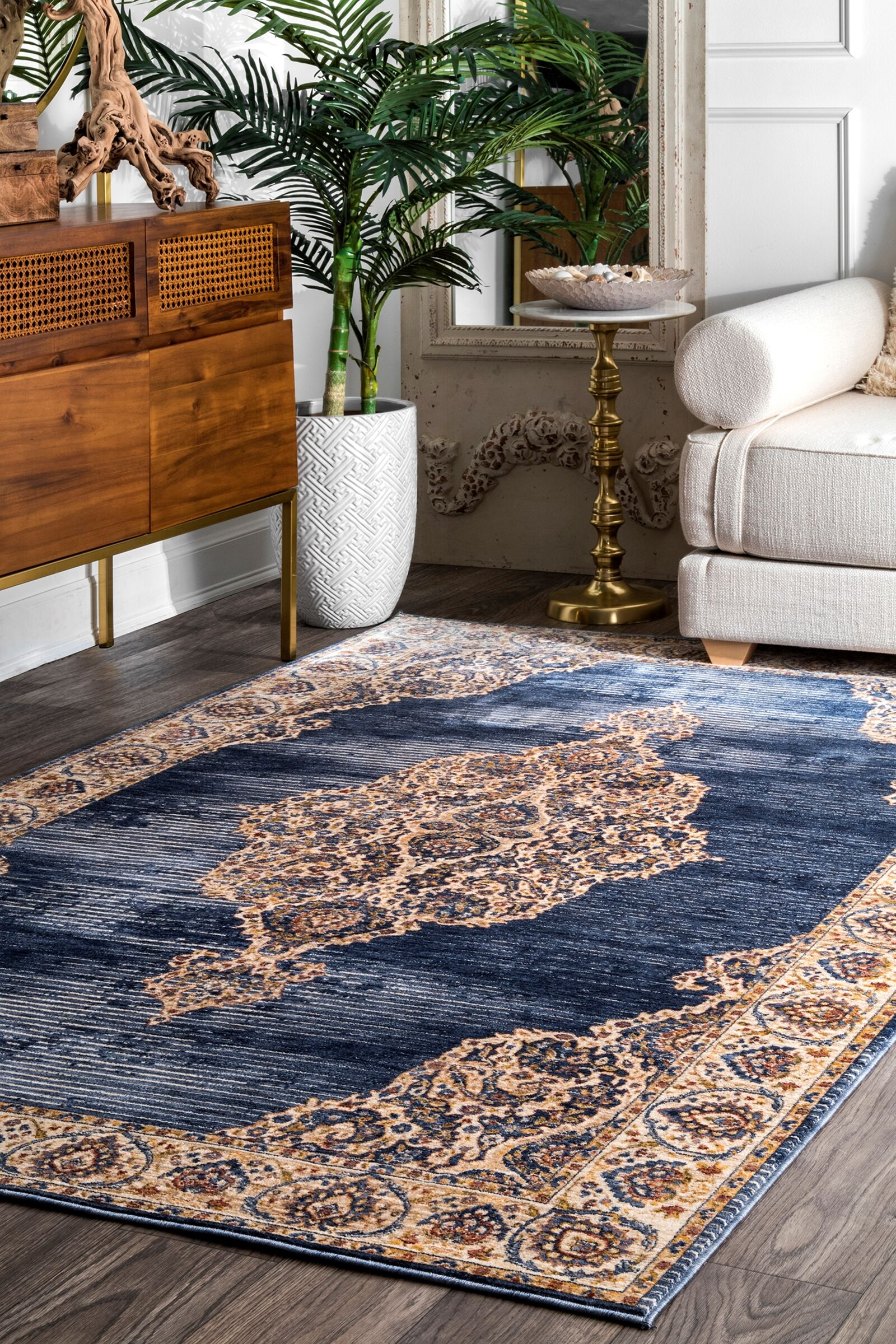Perdue Navy Area Rug Rug Size: Rectangle 7'6