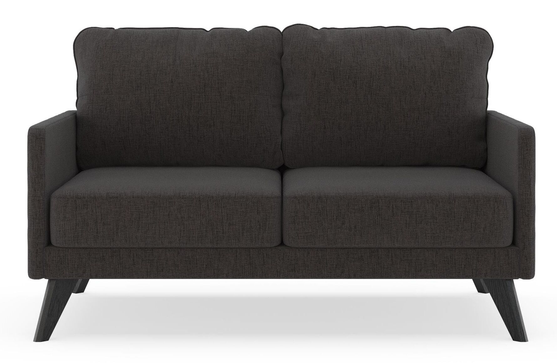 Rushden Loveseat Finish: Black, Upholstery: Heathered Taupe
