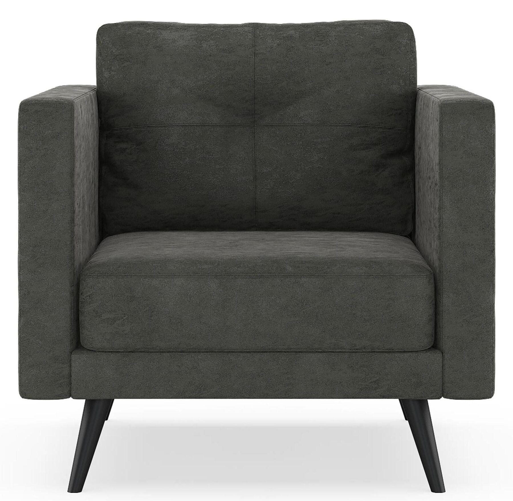Crossland Armchair Upholstery: Mocha, Finish: Chrome