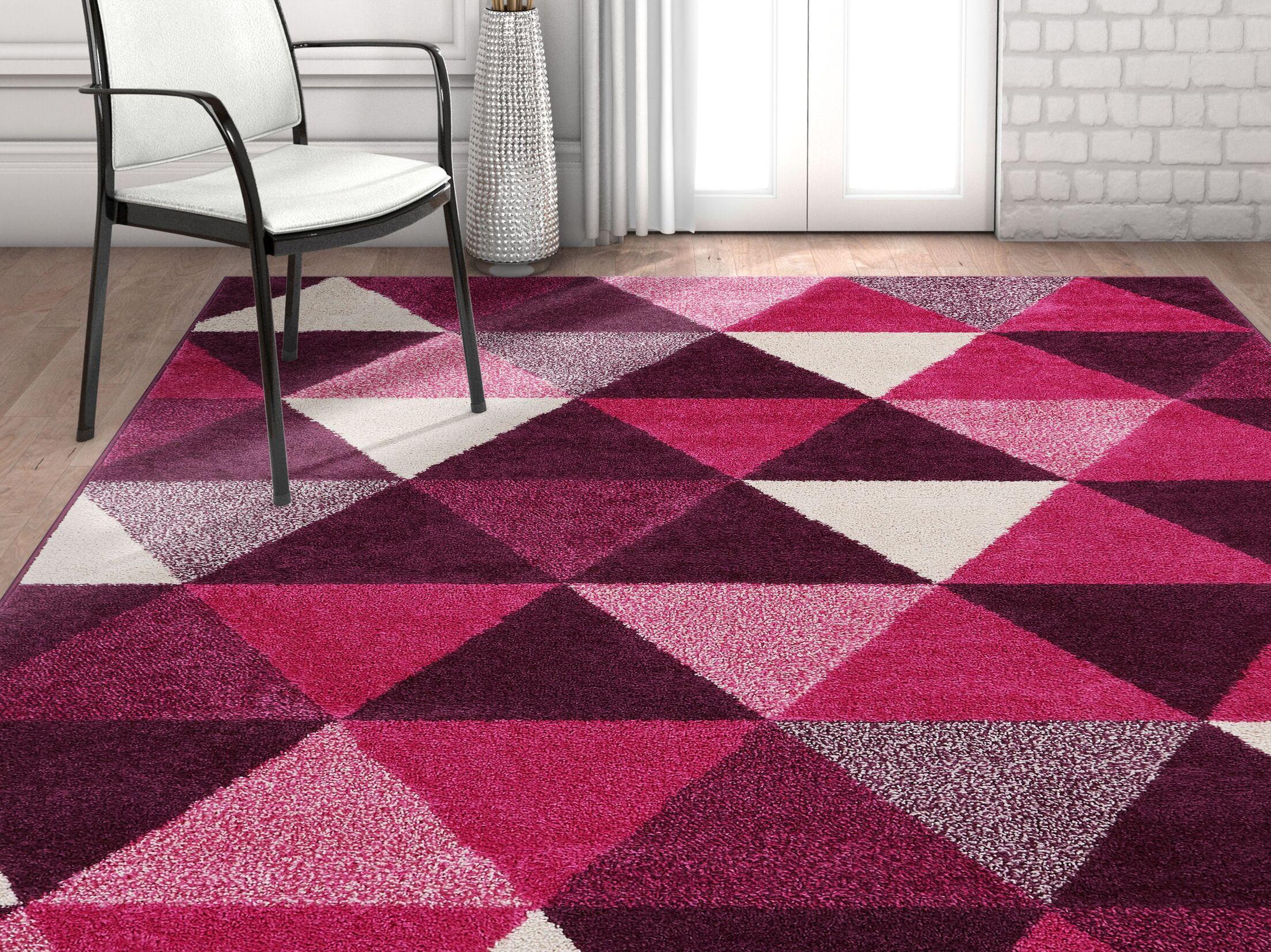 Dumas Geometric Triangle Purple Area Rug Rug Size: Rectangle 7'10