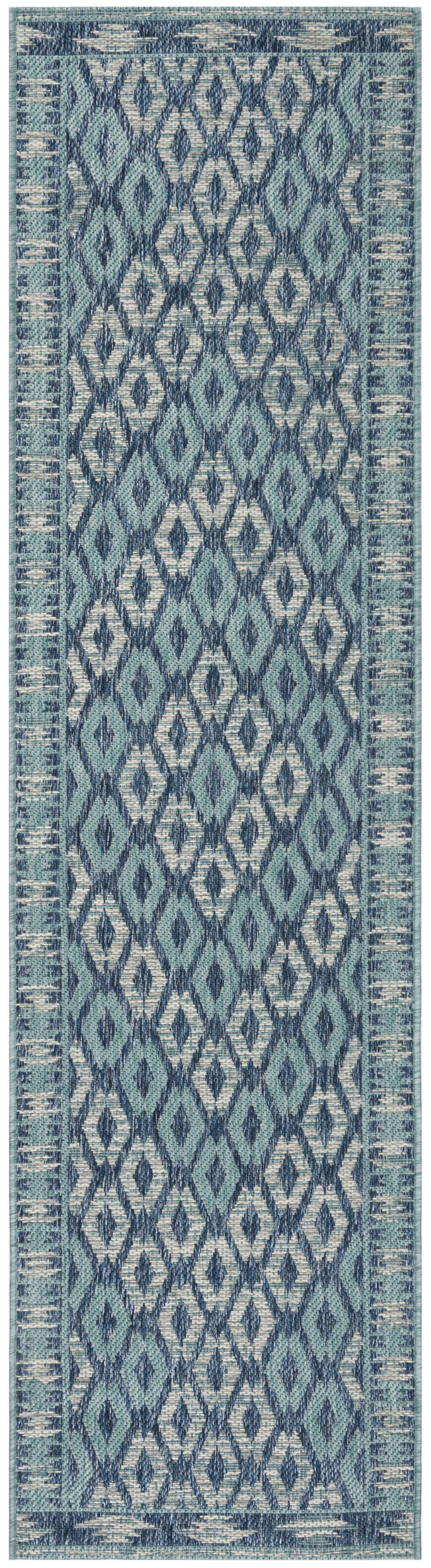 Mathes Navy/Aqua Indoor/Outdoor Area Rug Rug Size: Rectangle 9' x 12'