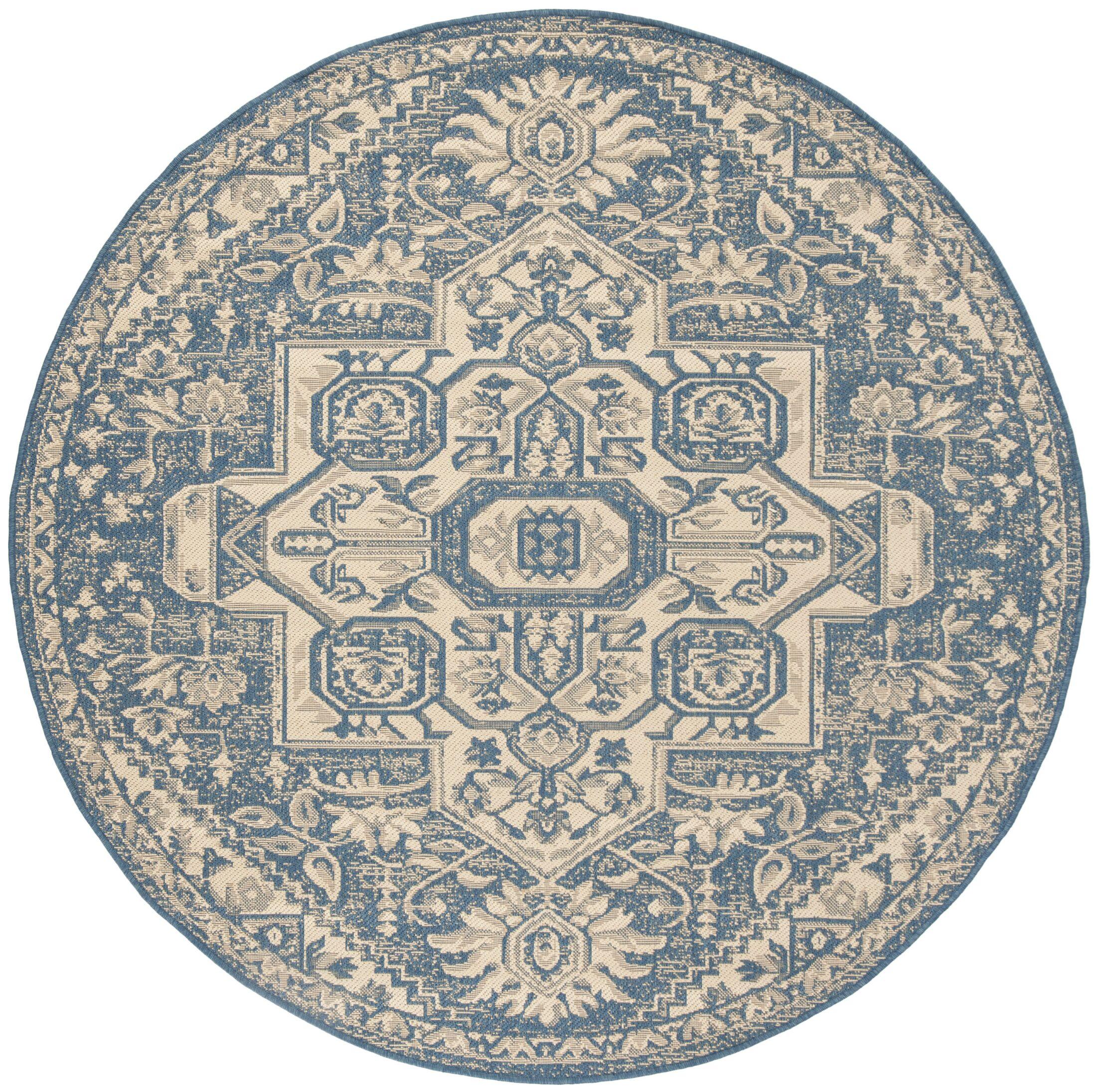 Berardi Cream/Blue Area Rug Rug Size: Round 6'7