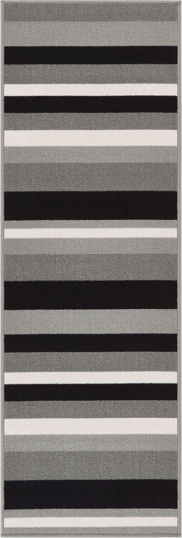Covey Stripes Gray/Black Area Rug Rug Size: Runner 1'8