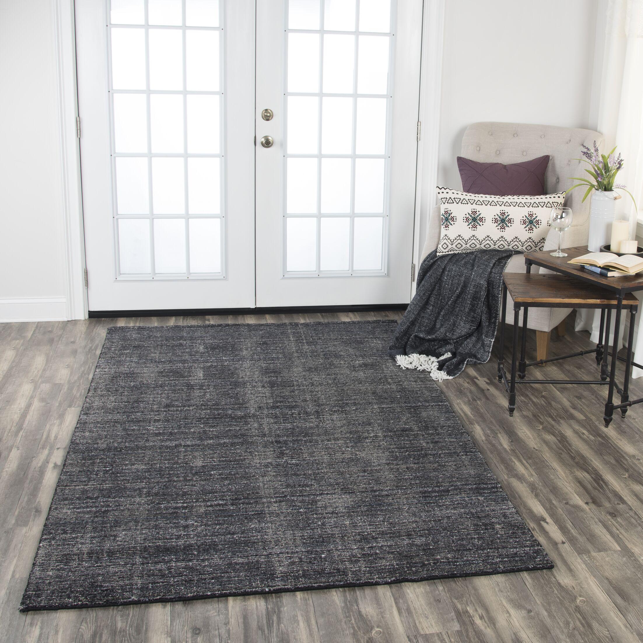 Hadley Hand-Woven Charcoal Area Rug Rug Size: Rectangle 8' x 10'