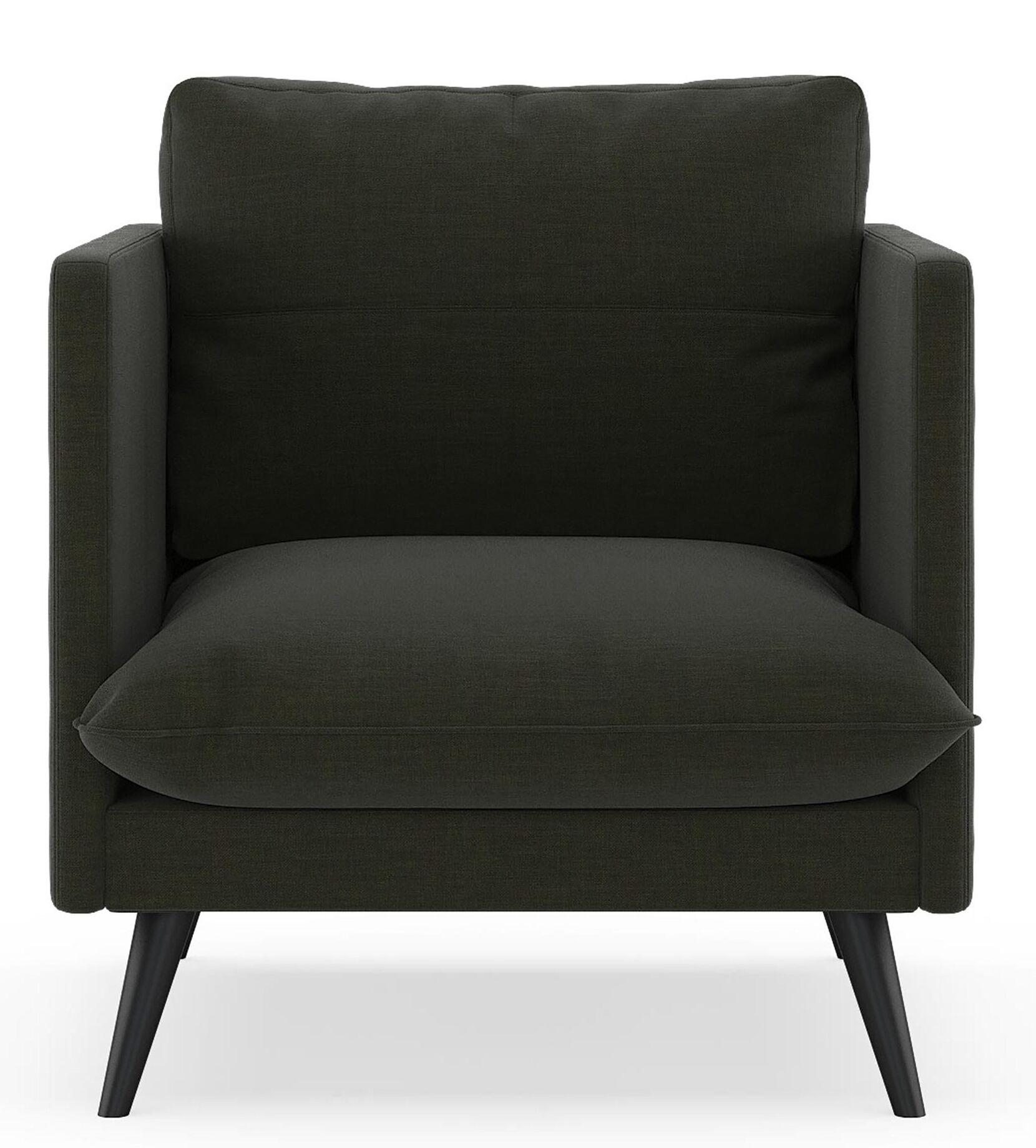 Labounty Armchair Upholstery: Stone Blue, Finish: Brass