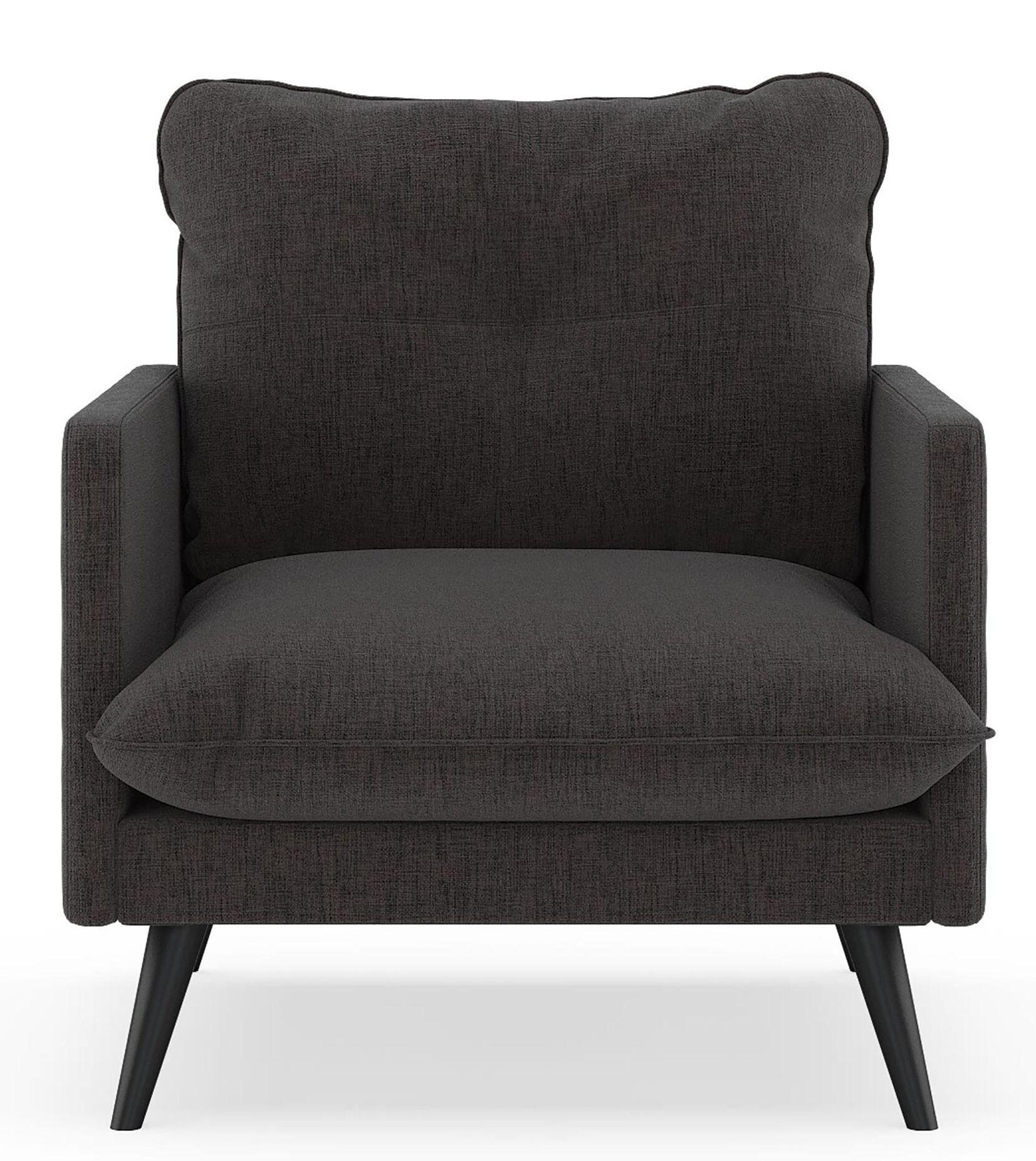 Charette Armchair Upholstery: Heathered Slate, Finish: Chrome