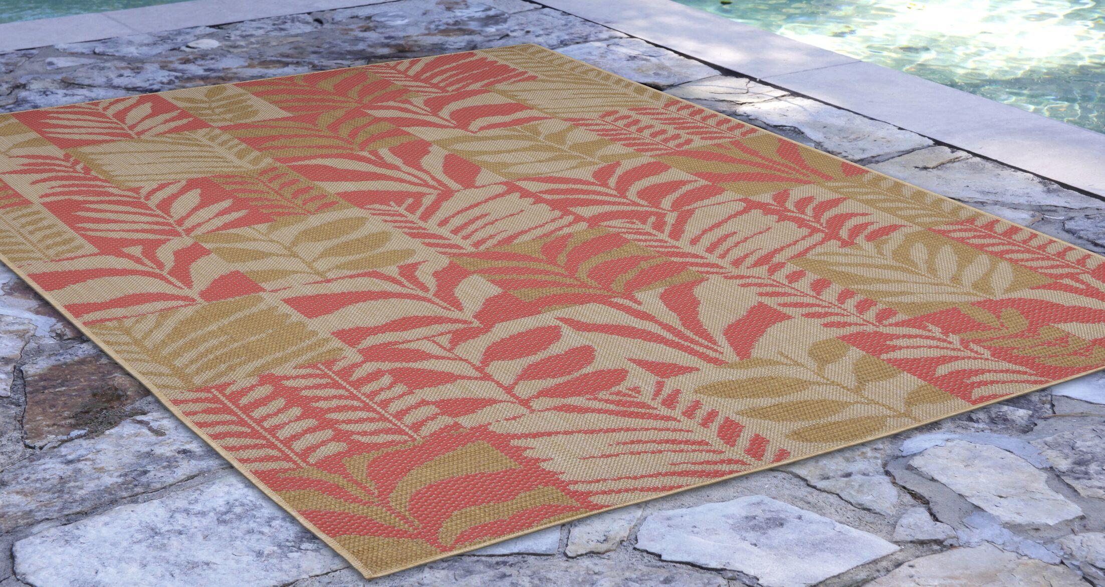 Hunley Leaves Rust/Beige Indoor/Outdoor Area Rug Rug Size: Rectangle 7'10