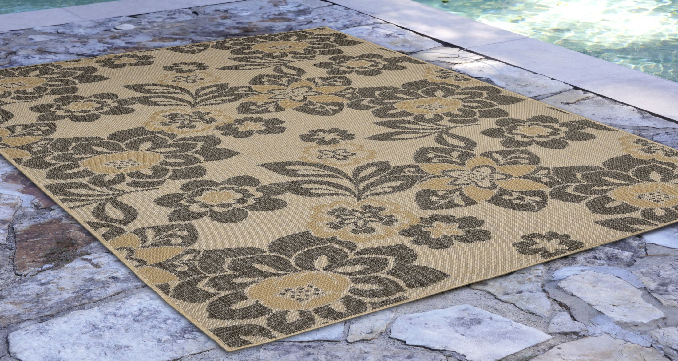 Stillwater Garden Gray/Beige Indoor/Outdoor Area Rug Rug Size: Rectangle 7'10