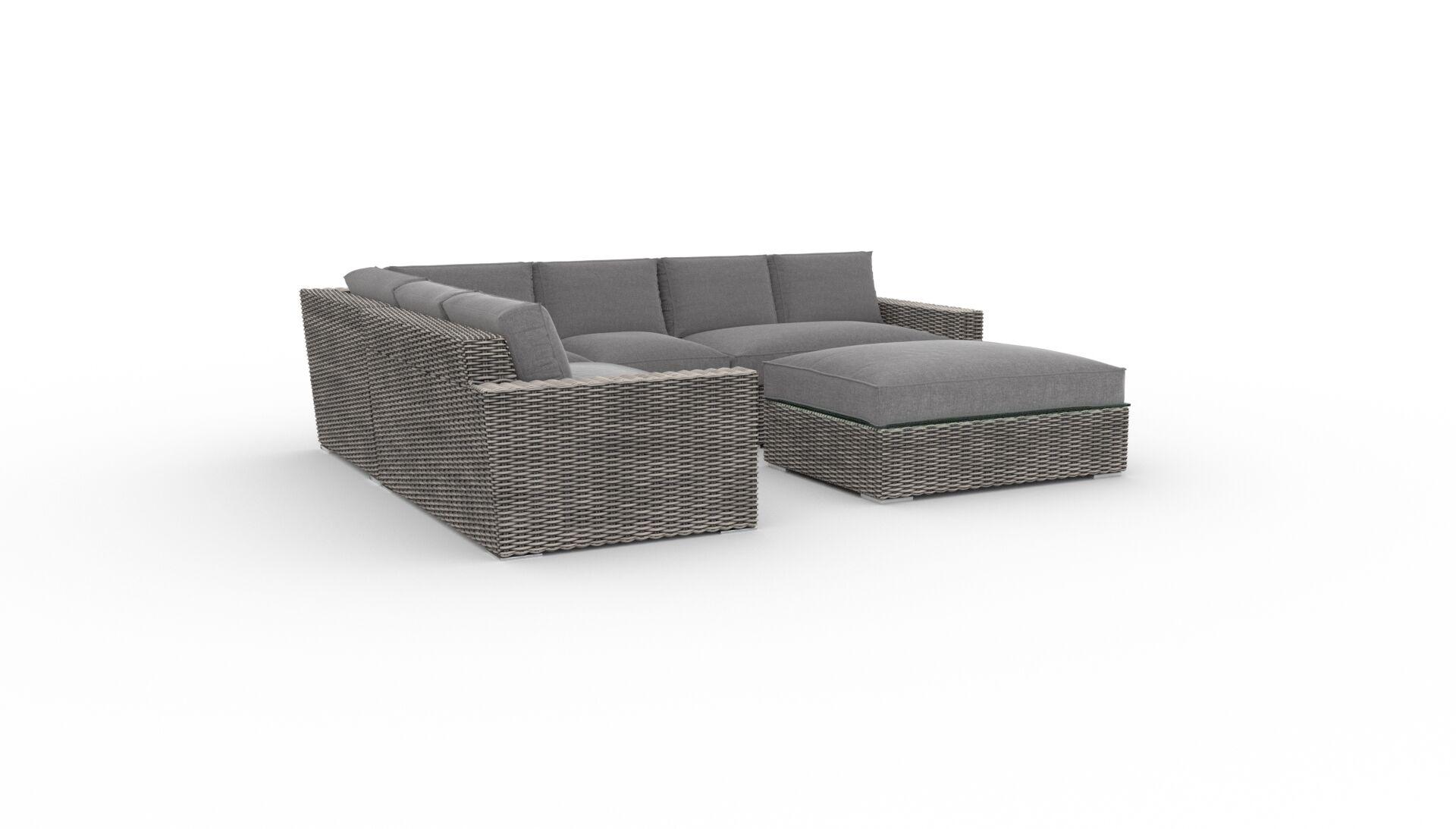 Borba Round 5 Piece Rattan Sunbrella Sectional Set with Cushions Cushion Color: Cast Slate