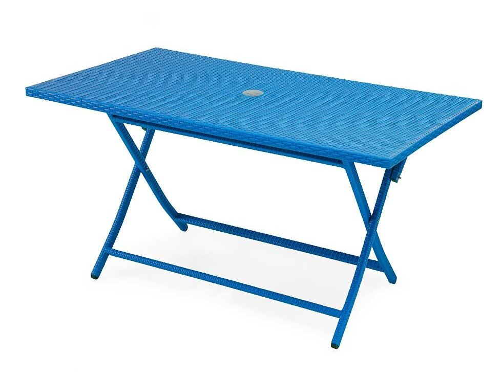 Tangier Rectangle Folding Wicker Dining Table Color: Blue