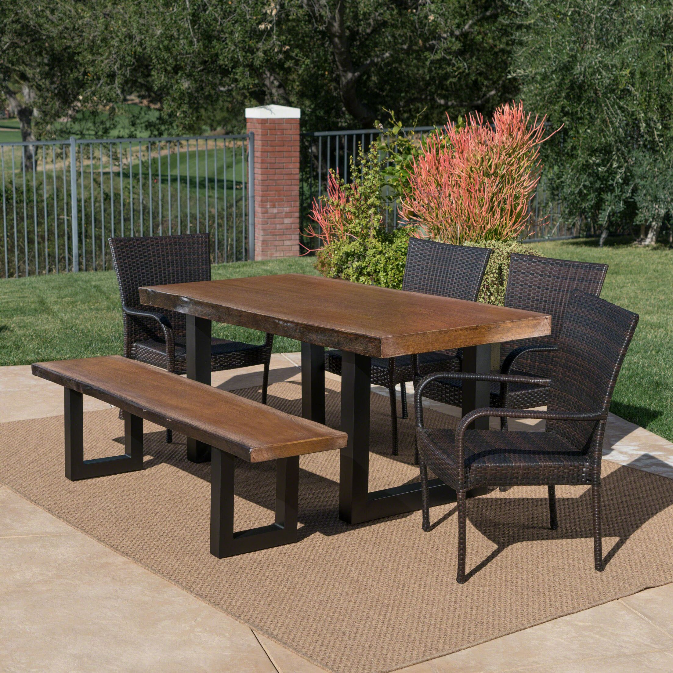 Woodell Outdoor 6 Piece Dining Set