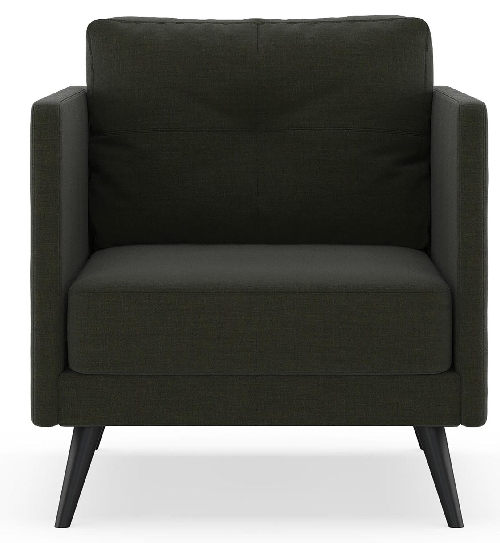 Croom Armchair Upholstery: Stone Blue, Finish: Brass