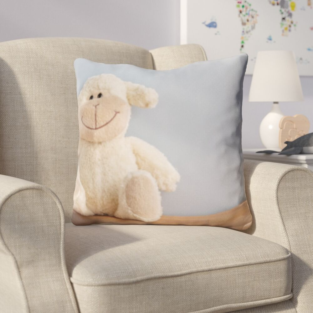 Dorcia Joy Feelings Toy Sheep Happy Face Throw Pillow