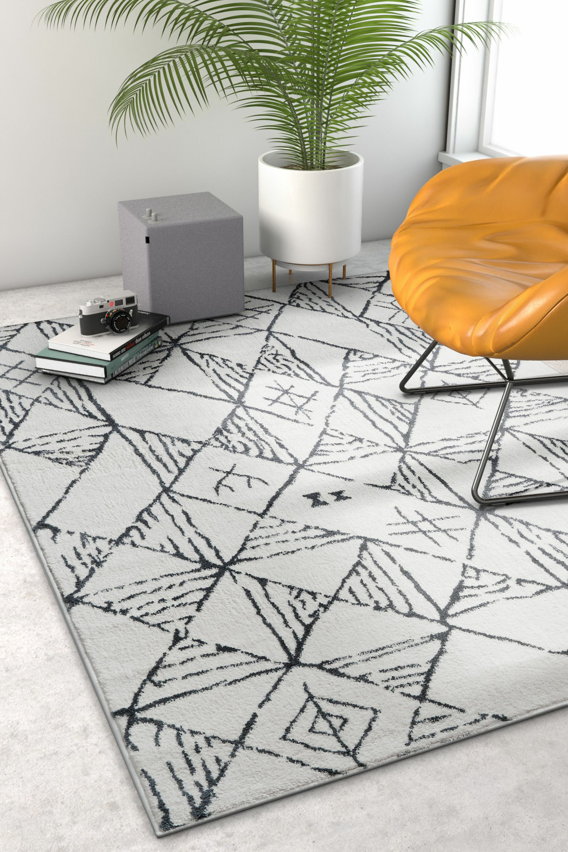 Peebles Magnificent Moroccan Trellis Geometric Mid-Century Soft Gray Area Rug Rug Size: Rectangle 7'10