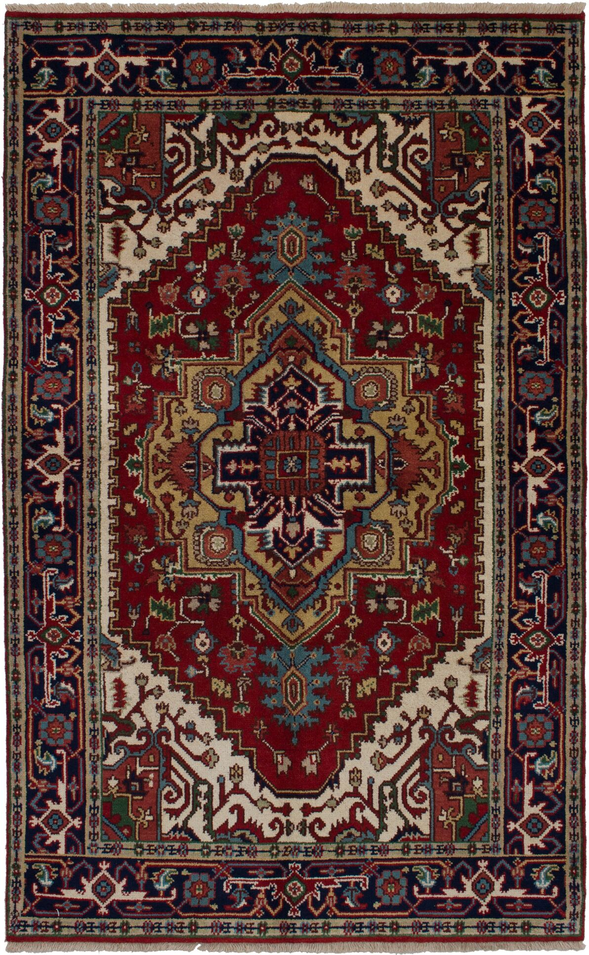 One-of-a-Kind Doerr Hand-Woven Wool Red Area Rug Rug Size: Rectangle 4'11