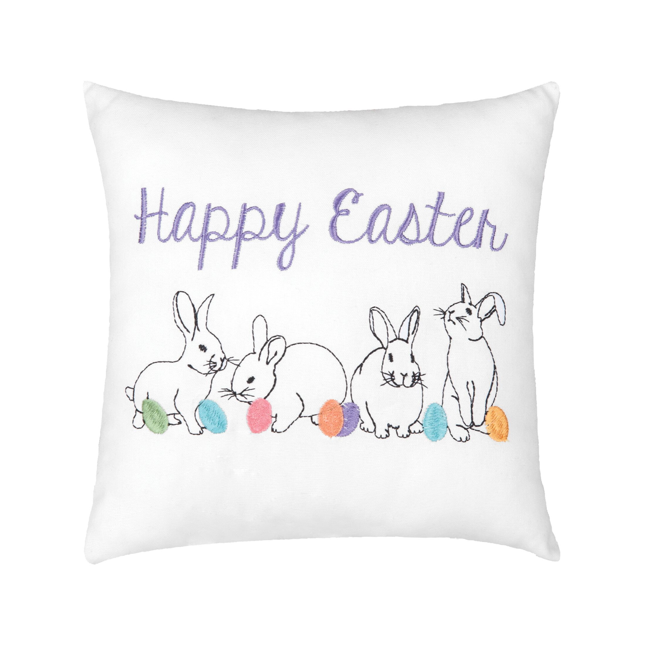 Eduardo Happy Easter Bunnies Cotton Throw Pillow