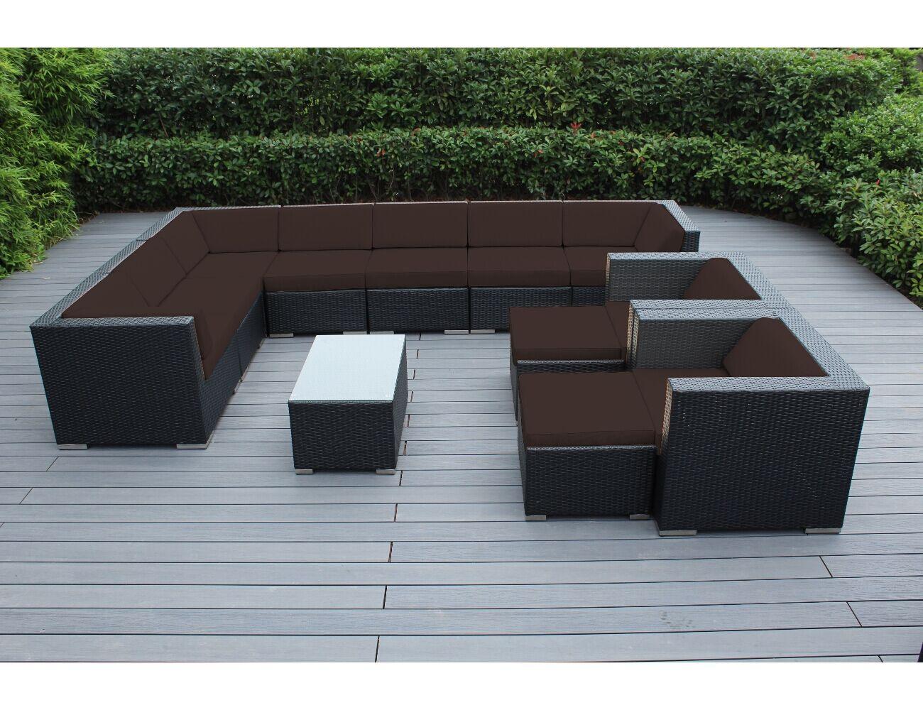 Konieczny 12 Piece Rattan Sunbrella Sectional Set with Cushions Frame Finish: Black, Cushion Color: Aruba