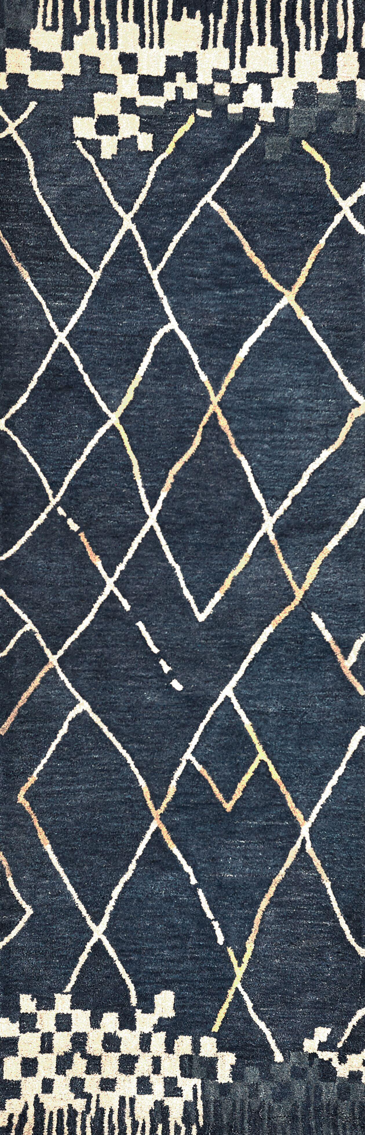 Hargis Hand-Tufted Wool Navy Area Rug Rug Size: Runner 2'6
